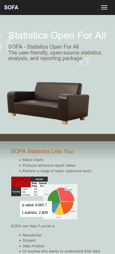 Responsive  design for SOFA website