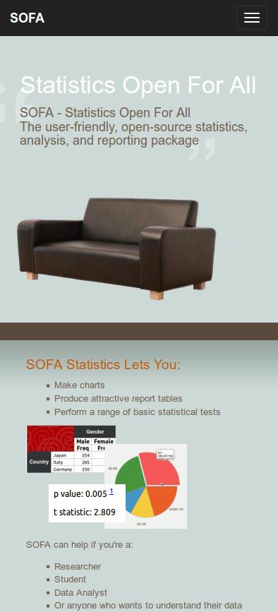 Responsive  design for SOFA website