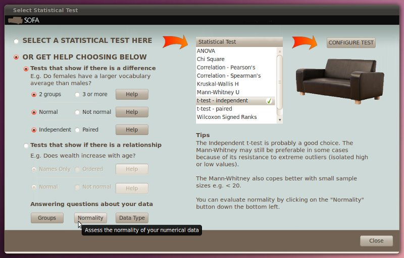 Statistics test selection dialog